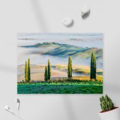 Obraz z zielonym górskim widokiem do salonu