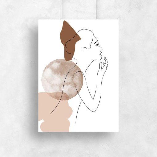 Plakat kobieta i abstrakcja