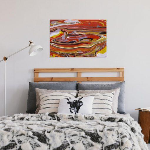 Obraz z pomarańczowa abstrakcja do salonu