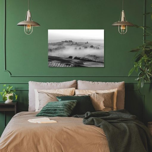 Czarno-biały obraz - Pola we mgle do dekoracji jadalni