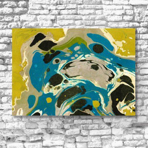 Awangardowy obraz z żółtą abstrakcją do salonu