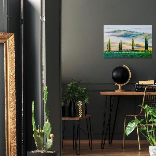 Obraz z zielonym górskim widokiem do sypialni