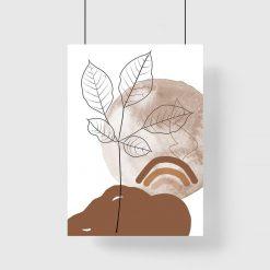 Plakat z listkami, słońcem i tęczą