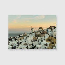 Obraz przedstawiający domki w Santorini do sypialni