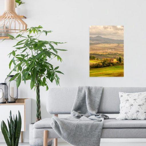Obraz widok na toskańskie pola w promieniach słońca