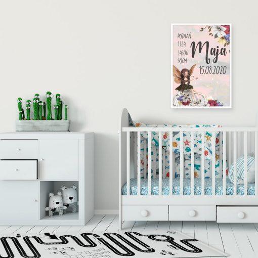 Plakat imienny z kwiatami dla dziewczynki