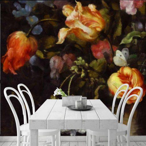 Malownicza fototapeta z kwiatami do kuchni