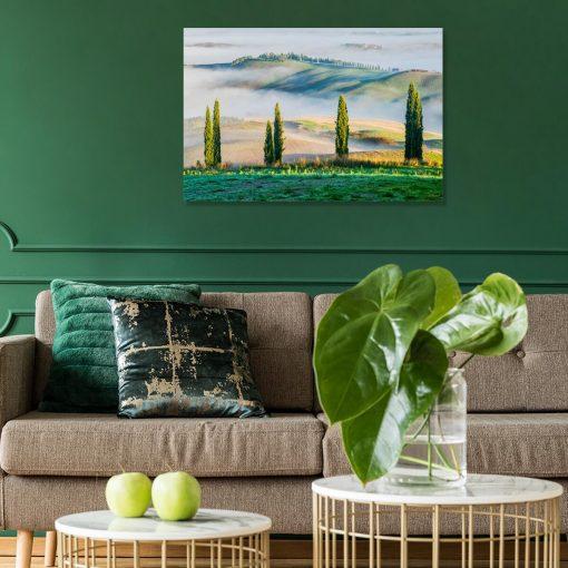 Obraz z zielonym górskim widokiem do gabinetu