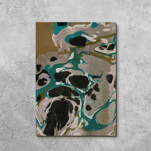 Turkusowo-biały obraz z abstrakcją do sypialni