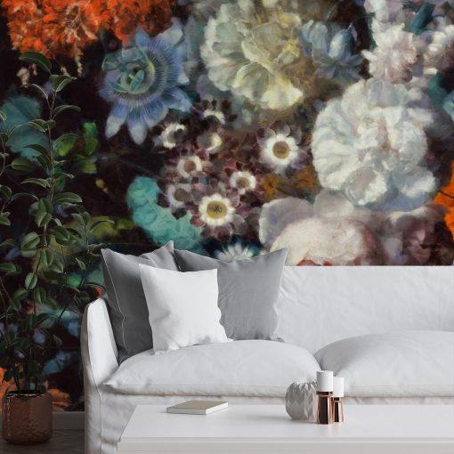 Kwiatowa foto-tapeta w rustykalnym stylu do salonu