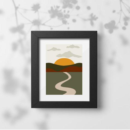 Plakat z drogą wśród wzgórz
