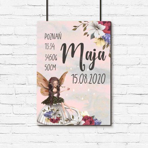 Plakat - Metryczka dla niemowląt z kwiatowym motywem