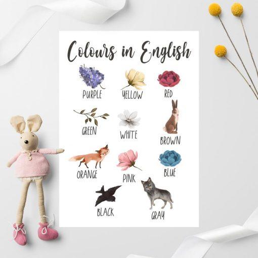 Dziecięcy plakat do nauki kolorów w kwiaty