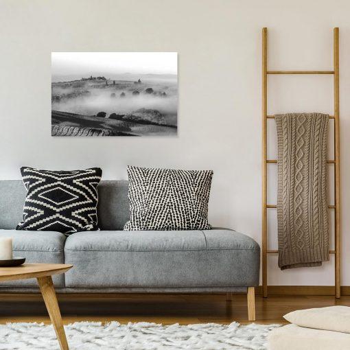 Czarno-biały obraz - Pola we mgle do gabinetu