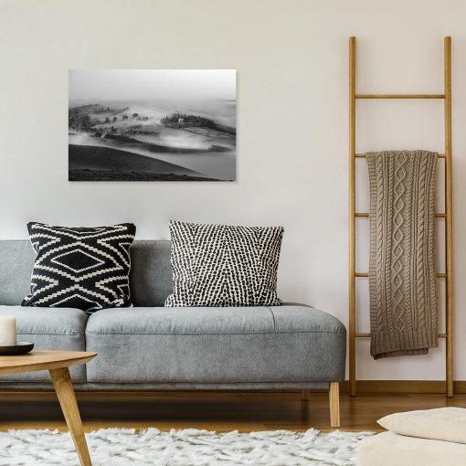 Obraz czarno-biały z górskim pejzażem do dekoracji ściany w sypialni