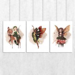 Trzy plakaty z nimfami