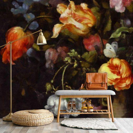 Malownicza fototapeta z kwiatami do sypialni