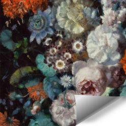 Kwiatowa foto-tapeta w rustykalnym stylu do sypialni