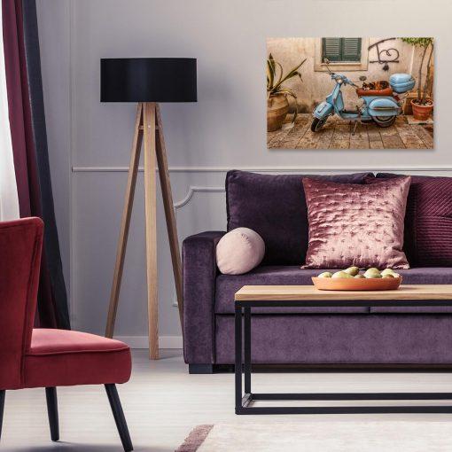 Kolorowy obraz z uliczką na Korfu do dekoracji pokoju