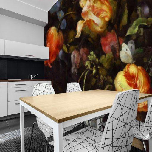Malownicza fototapeta z kwiatami do salonu