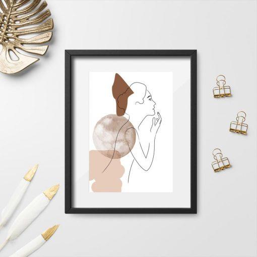 Plakat bez ramy ze szkicem kobiety
