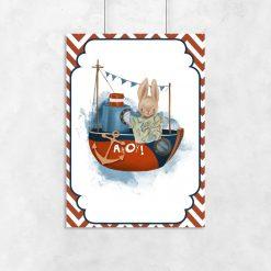 Plakat do pokoju dziecka ze statkiem