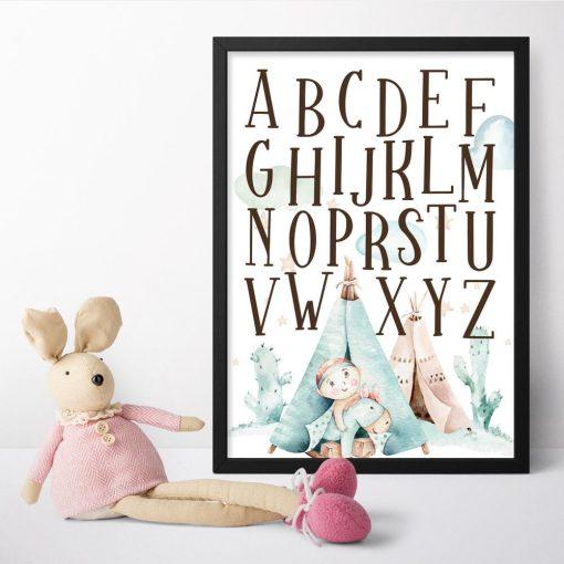 Plakat z alfabetem dla dziewczynki