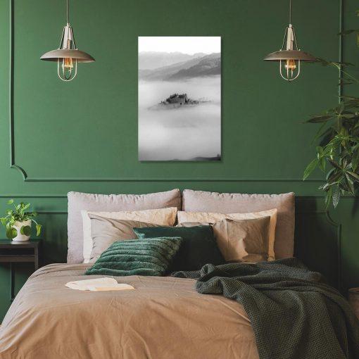 Czarno-biały obraz z widoczkiem górskim do sypialni