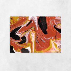 Obraz do sypialni z pomarańczową abstrakcją