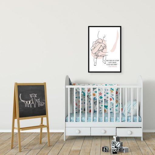 Artystyczny plakat z motywem kobiety trzymającej dziecko do dekoracji ściany nad łóżeczkiem