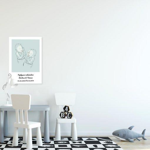 Niebieski plakat dla chłopców - Line art