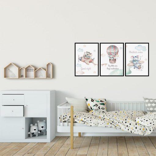"""Zestaw plakatów do dziecinnego pokoju z napisem """"dobranoc"""""""