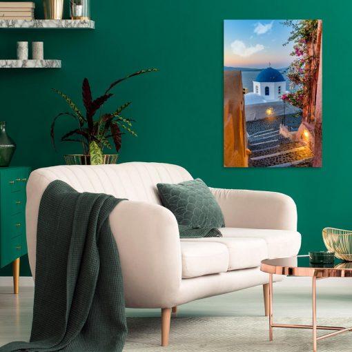 Kolorowy obraz z greckim krajobrazem do salonu