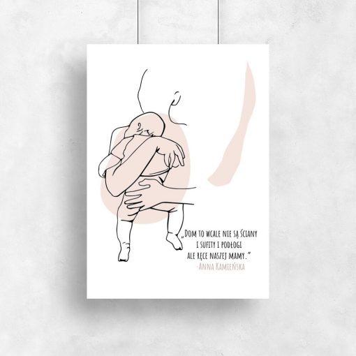 Artystyczny plakat z motywem kobiety trzymającej dziecko do pokoju dziewczynki
