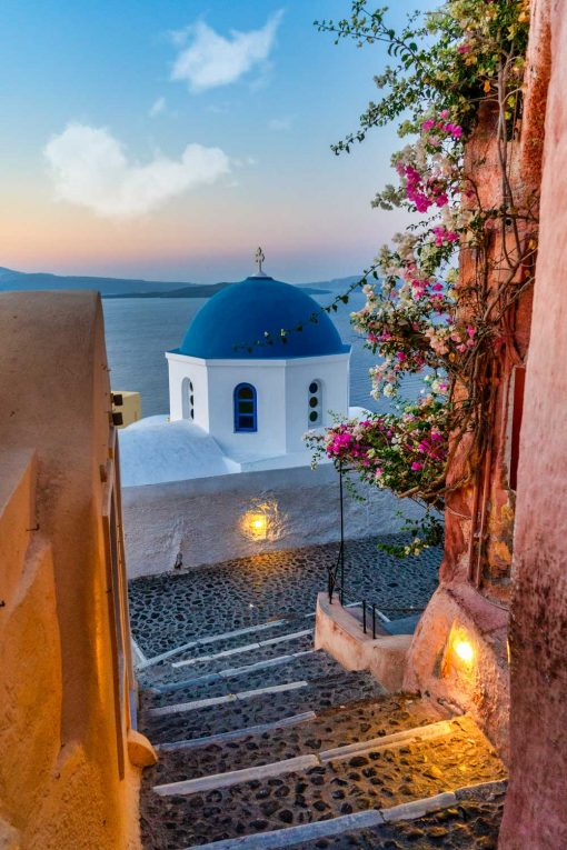 Kolorowy obraz z greckim krajobrazem do biura