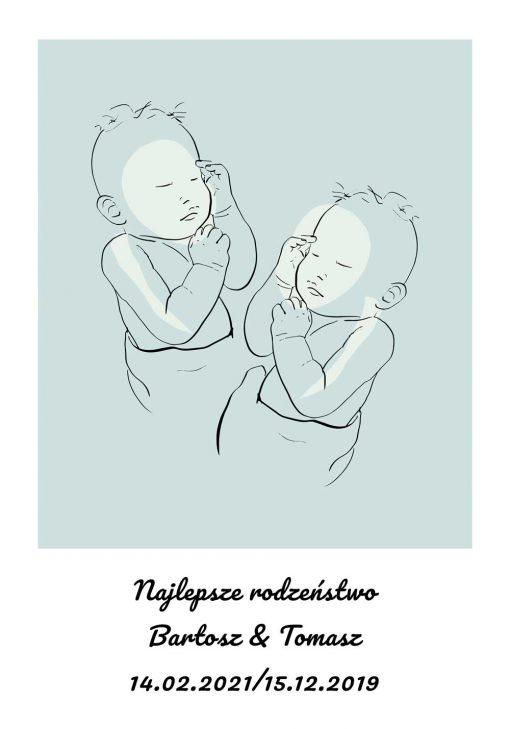 Niebieski plakat line art do pokoju rodzeństwa