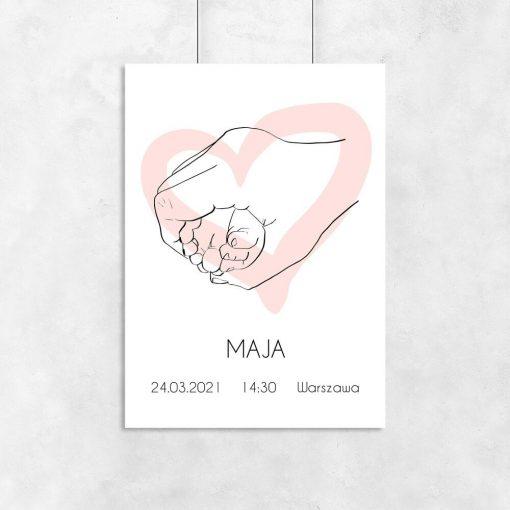 Imienny plakat z motywem line art dla dzieci