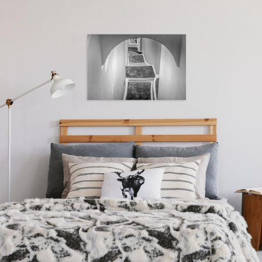 Czarno-biały obraz z zabudową na Santorini do sypialni