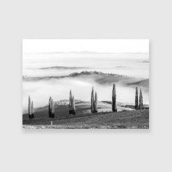 Czarno-biały obraz z wakacyjnym krajobrazem do sypialni