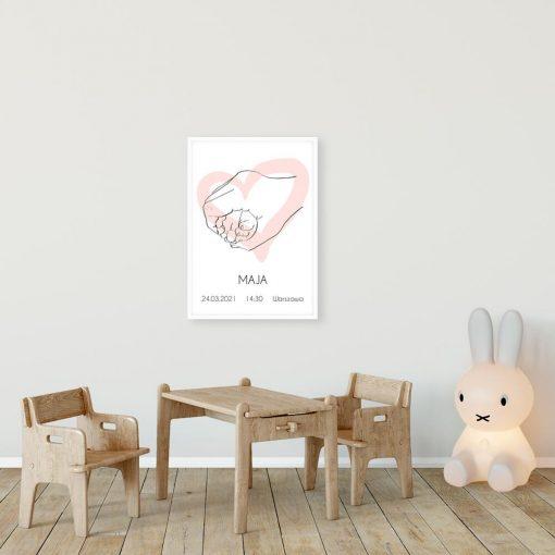 Imienny plakat z motywem line art do dekoracji dziecięcych wnętrz