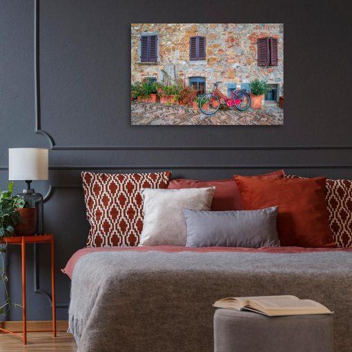 Kolorowy obraz z rowerem do sypialni