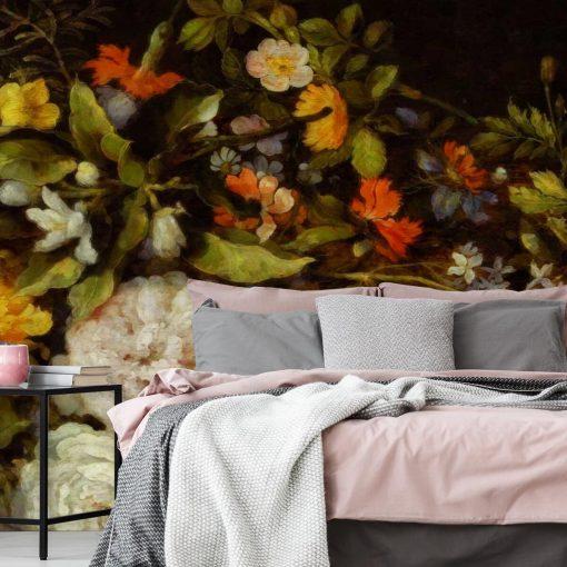Tapeta z motywem kwiatowym do ozdoby sypialni