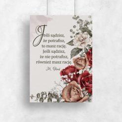 Plakat z cytatem H. Forda na tle kwiatów