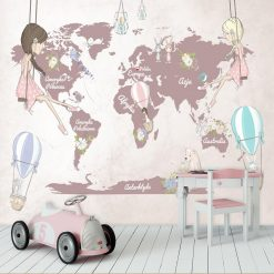 Fototapeta dziewczynki na huśtawkach na tle mapy
