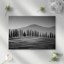 Czarno-biały obraz z górskim krajobrazem do jadalni