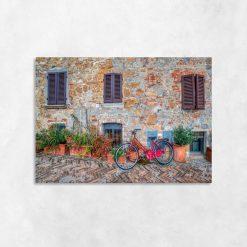 Kolorowy obraz z rowerem do dekoracji salonu