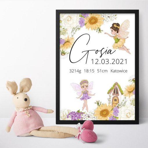 Plakat dla noworodka z metryczką