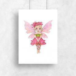 Plakat dziecięcy z kwiatową wróżką