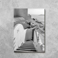 Czarno-biały obraz z motywem greckiego krajobrazu do dekoracji sypialni