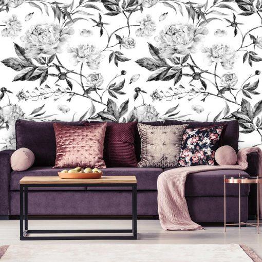 Czarno-biała tapeta w kwiaty do ozdoby salonu